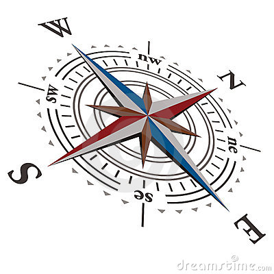 Free 3 D Vector Wind Rose Compass Royalty Free Stock Image - 19588796