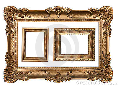 3 Decorative Gold Empty Wall Picture Frames