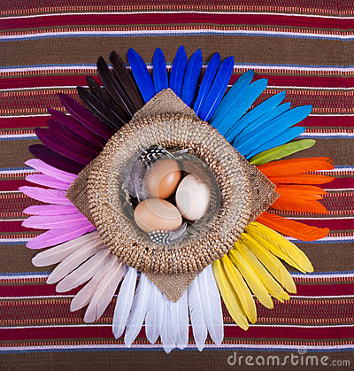 3  Eggs Basket Rainbow Feathers