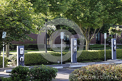3 Electric Vehicle Charging Stations Editorial Image