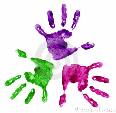 Free 3 Finger Painted Hands Stock Photography - 513192