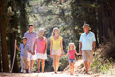 3 Generation family walking along country road