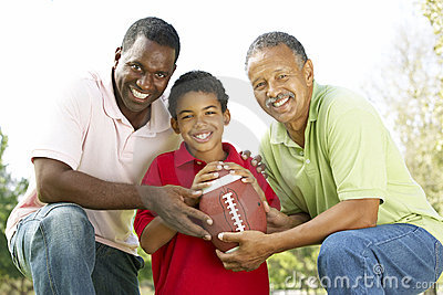 3 Generations In Park With American Football
