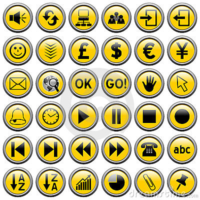 3 guzików sieci runda żółty
