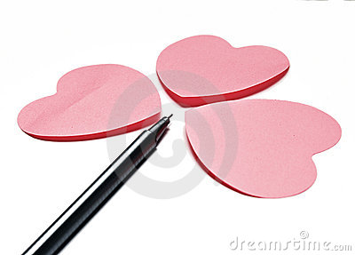 3 hearts and and a pen