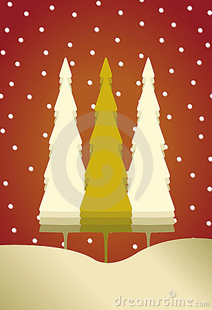 3 karcianych bożych narodzeń śnieżnych drzewa