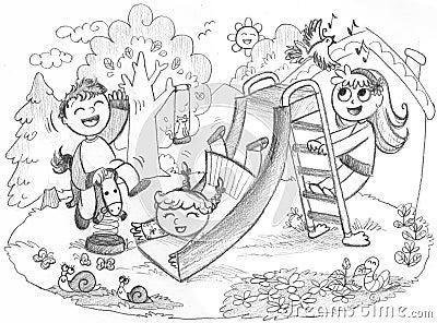 3 Kinder, die in der Landschaft spielen