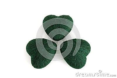 3-leaf clover leaf formed by green clews