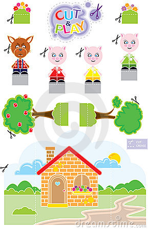 Free 3 Little Pigs Cut & Play Royalty Free Stock Photo - 9153595