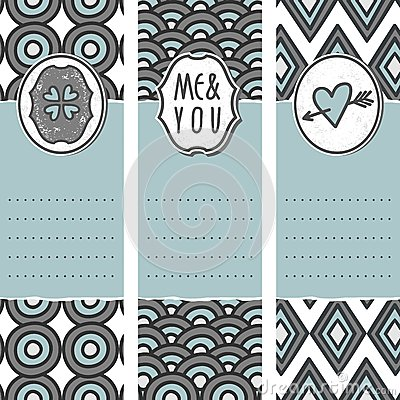 3 long valentines day cards circle wave diamond