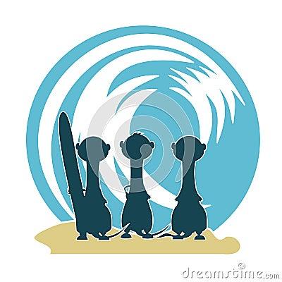 3 Meercat Surfers & Wave