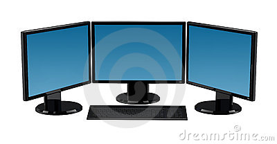 3 Monitors Computer Isolated
