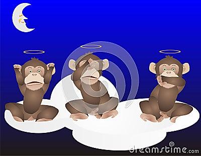 3 Monkeys, See, hear and speak no evil..