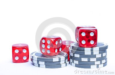 3 Red Dices With Grey And White Poker Chips Free Public Domain Cc0 Image