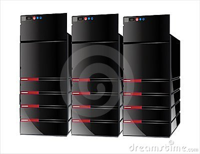 3 red servers computer