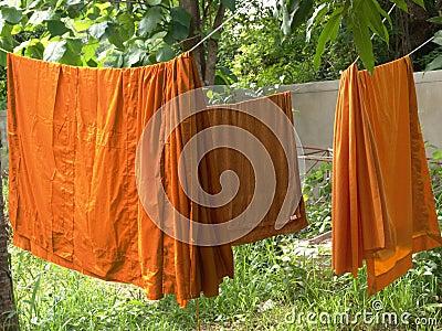 Buddhist monks robes hanging