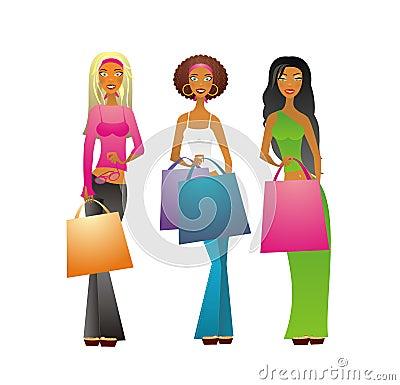 Free 3 Shopping Girls Royalty Free Stock Images - 1861369