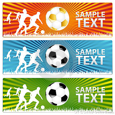 3 Soccer ball  or Football banners. Vector