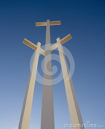 3 White Giant Metal Crosses in Arizona