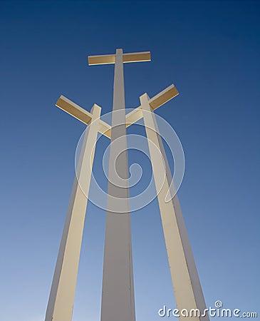 3 White Giant Metal Crosses in Arizona