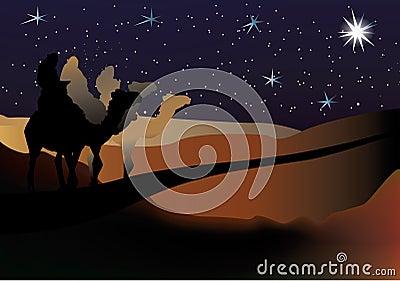3 Wise men nativity scene vector