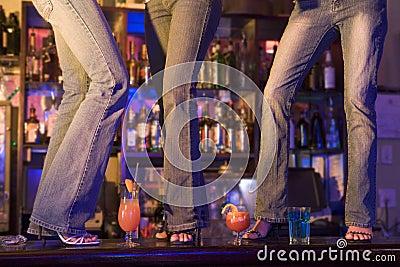 3 Women Dancing On Bar