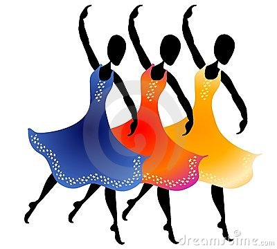 clip art illustration of 3 women lined up dancing with colorful long