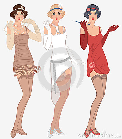 Free 3 Young Beautiful Flapper Women Of 1920s Royalty Free Stock Images - 25963309
