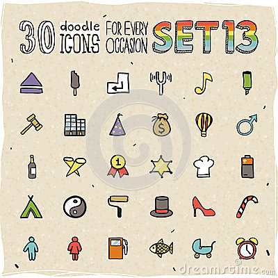 Free 30 Colorful Doodle Icons Set 13 Royalty Free Stock Images - 34349029