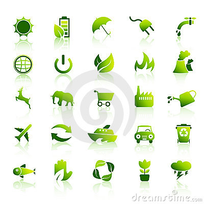 30 Eco green icons set 1