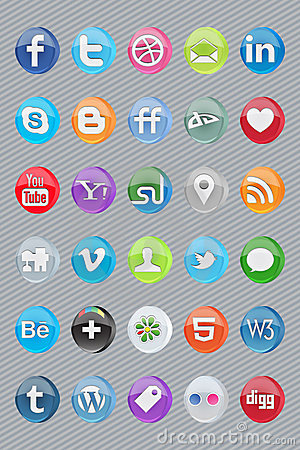 30 glossy oval social icons Editorial Image