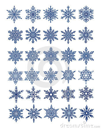 30 unique snowflakes in all /  vector