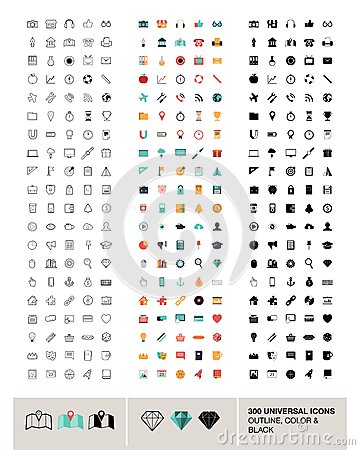 Free 300 Vector Universal Icons Made In Outline, Color And Black Stock Images - 37790394
