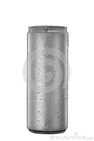 Free 325 Ml Aluminum Tin Can With Water Drops Isolated On White Stock Photos - 57351583