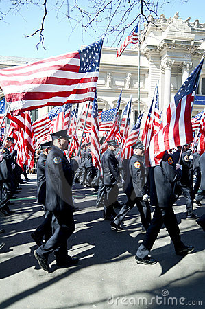 343 FDNY Flag Bearers in NYC Parade Editorial Photo