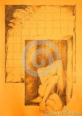 被困住的配件箱男性裸体