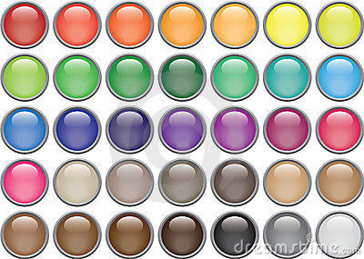 35 Rimmed Round Glass Buttons