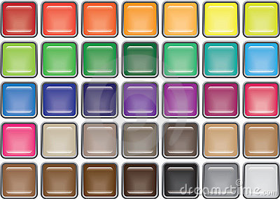 35 Rimmed Square Glass Buttons