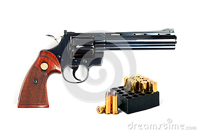 .357 revolver with ammo, isolated.