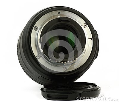 35mm prime dslr lens isolated rear view