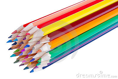 36 colorful pencils isolated on white