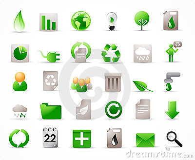 36 ecology icons set