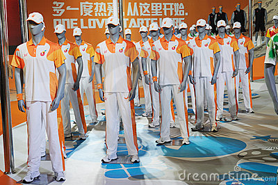 361 stand,Official uniform of the Universiade 2011 Editorial Stock Photo