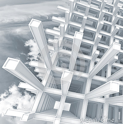 3d abstract architecture square background