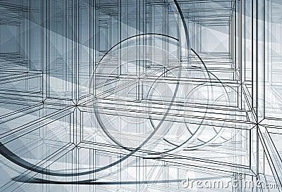 3d abstract blueprint illustration background