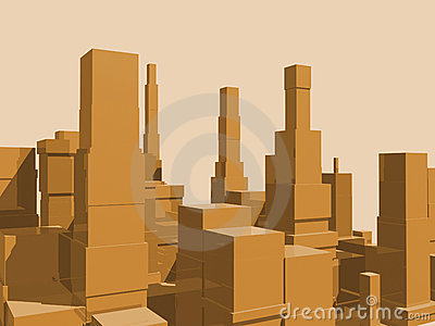 3D abstract city side view