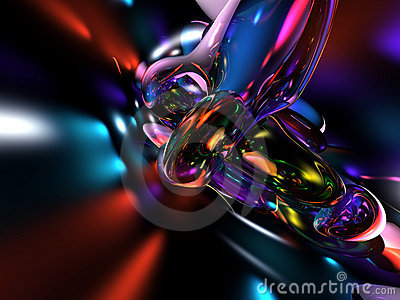 3D Abstract Colorful Blue Red Render Background