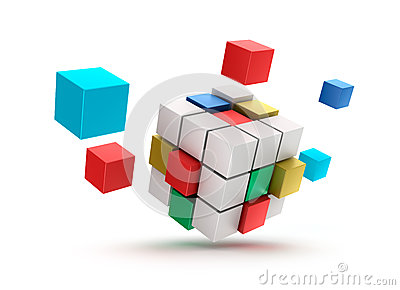 3D abstract cubes background.  on white.