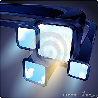 Free 3d Abstract Flight Fluorescent Screens Monitors With An Image Of The Sky. Stock Image - 51920031