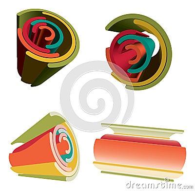 3D Abstract Futuristic Vibrant Color Rainbow.